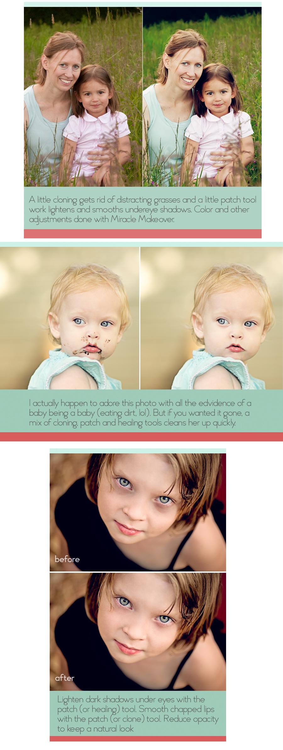 Photoshop Actions Elements PSE Clone Tool Healing Brush Blemishes Eyes