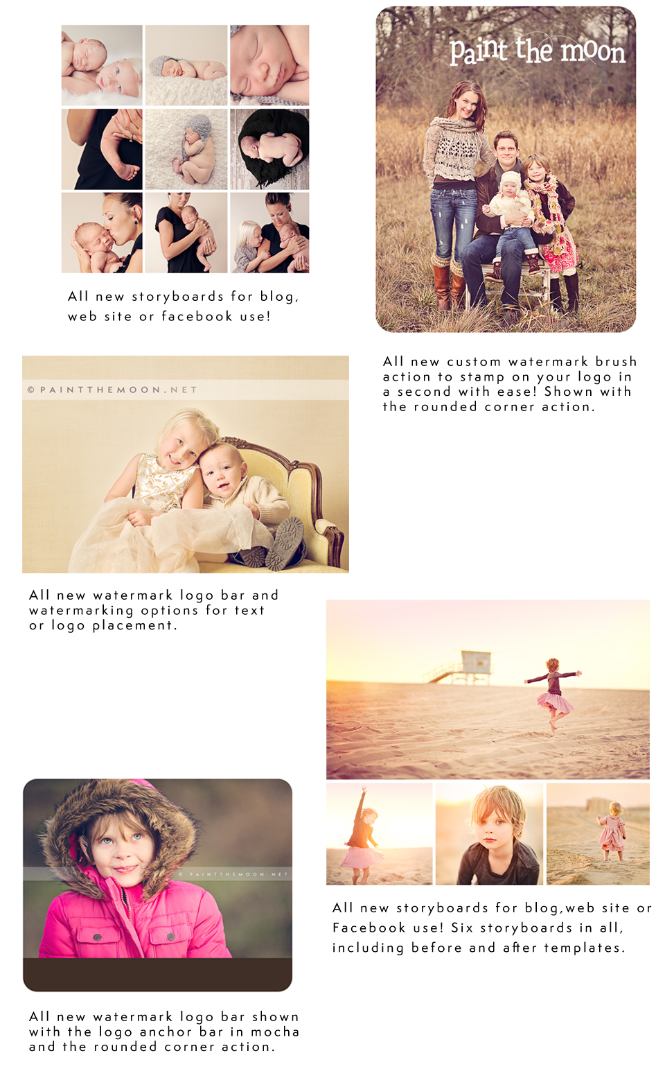 Resizing, sharpening, rounded corners, watermarks and more. Plus collage storyboard templates!